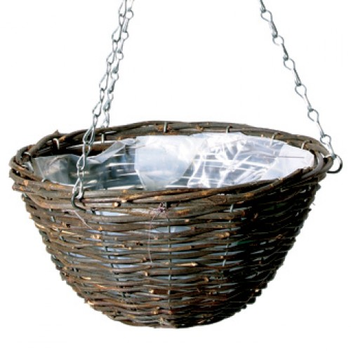 Black Rattan Hanging Baskets 12 inches | ScotPlantsDirect